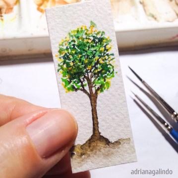 Árvore 18, miniatura aquarela / Tree 18, miniature watercolor.5,40 x 2,20 cm. Available