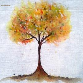 Tree 15, Acrílica sobre algodão cru, 11 x 11 cm. Sold