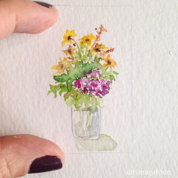 Amor em miniatura, aquarela emoldurada 🎨 available