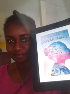 Woman showing her tablet with the AMA Publishing book