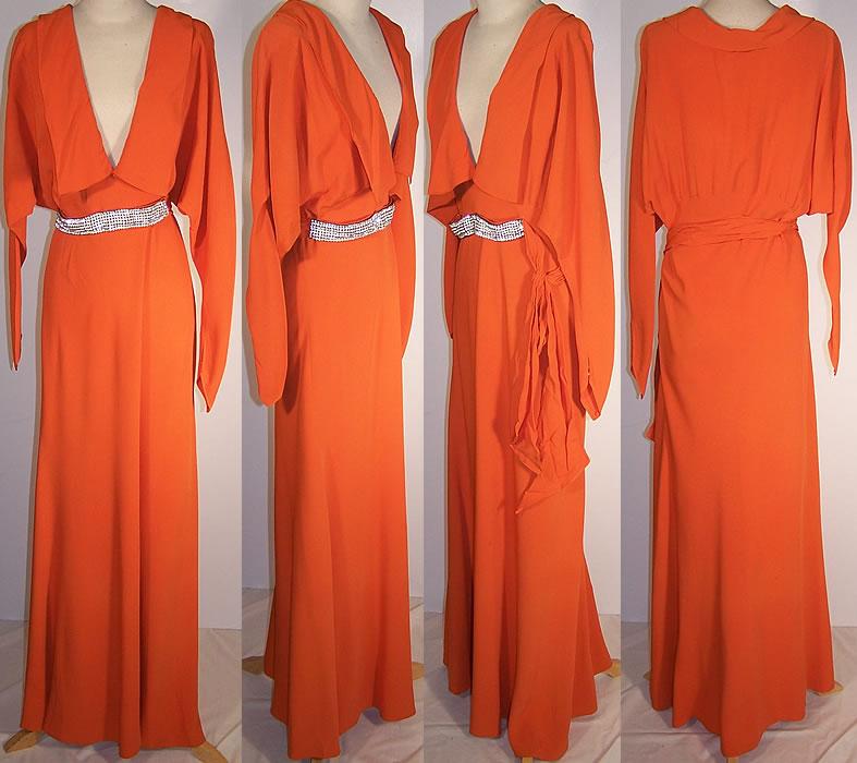 1930s-orange-silk-crepe-floor-length-dress