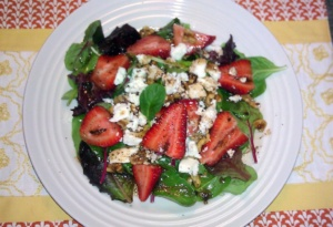 Strawberry Salad with feta cheese and walnuts