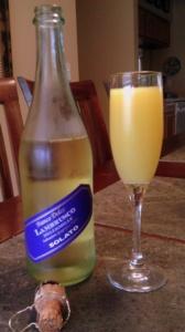 Mimosa with lambrusco bubbly and orange juice