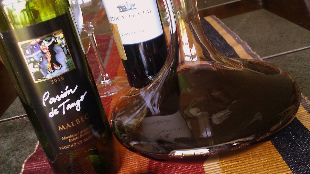 Red wine and decanter for serving
