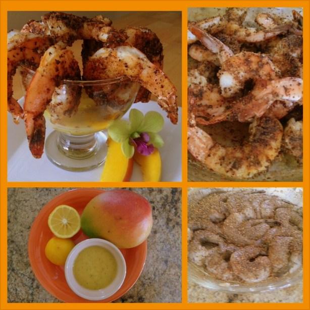 Camarones asados al horno acompañados de salsa picosita de mangos frescos