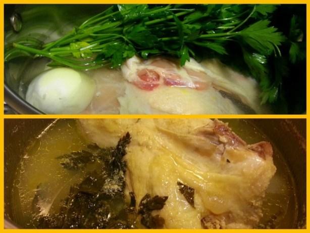 Cocinando el pollo que serviremos con el Mole de Cacahuate