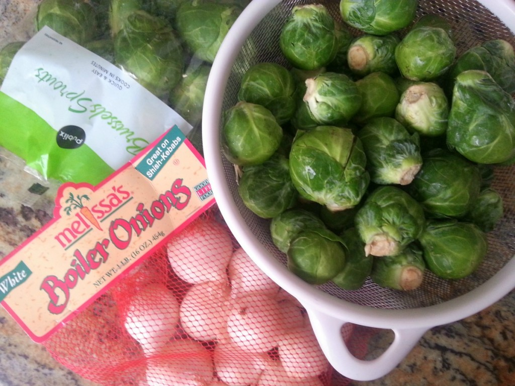 Ingredients to prepare Grilled Brussels Sprouts and Onions #ABRecipes