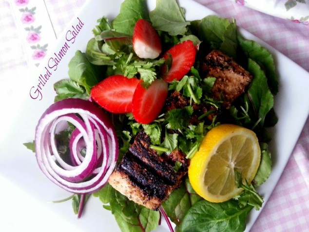 Grilled Salmon Salad with Kale and Strawberries #ABRecipes