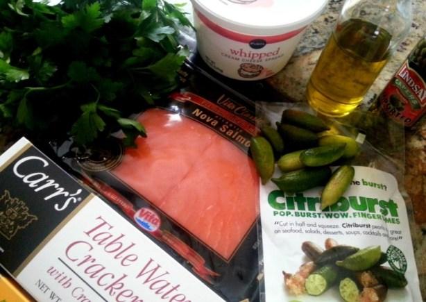 Ingredients for preparing the citrus caviar salmon bites #ABRecipes