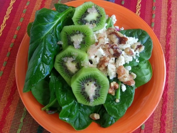 Kiwi spinach with finger limes #ABRecipes
