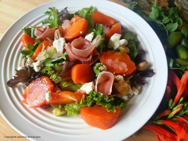 Persimmon Prosciutto Salad gourmet option to enjoy anytime #ABRecipes