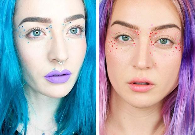 Maquiagem com sardas arco-íris