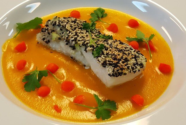 Mandela Sesame and Wasabi Crusted Halibut