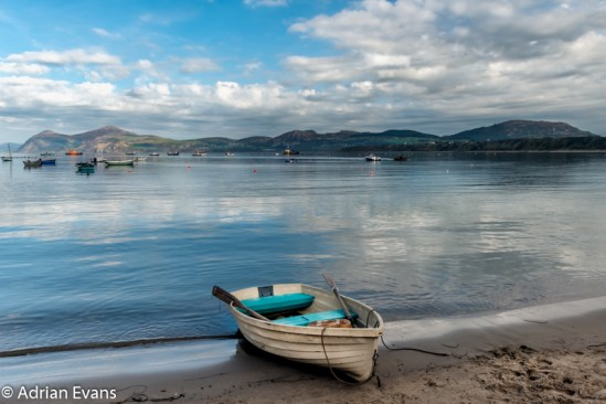 Moored boat at Morfa Nefyn beach, a small village located on the northern coast of the Llyn Peninsula, north Wales, UK