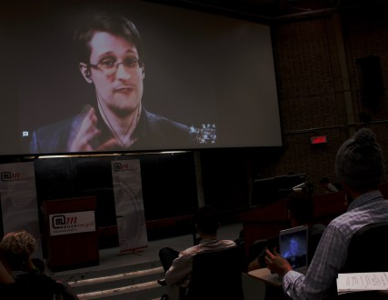 After a number of delays, Edward Snowden addressed students via video chat from exile in Russia. Photo by Adrian Knowler.
