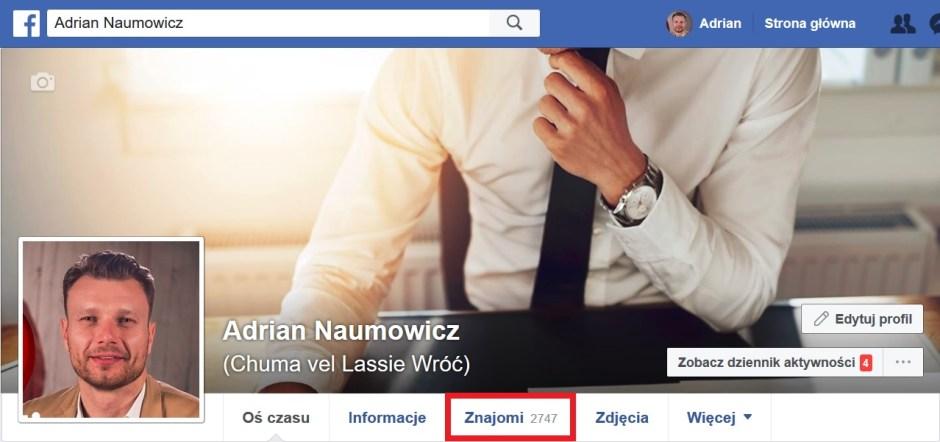 01.04.2018 Adrian Naumowicz facebook liczba znajomych