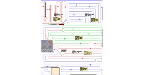 Sistem de incalzire in pardoseala 190 de metri patrati doua nivele pe teava de 20 mm