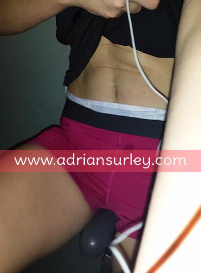 Adrian Exercising in Diapers