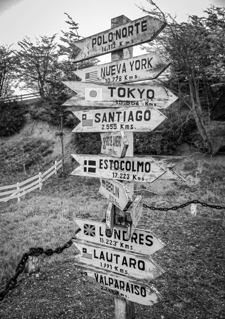 Signpost Puerto Williams Beagle Channel Chile