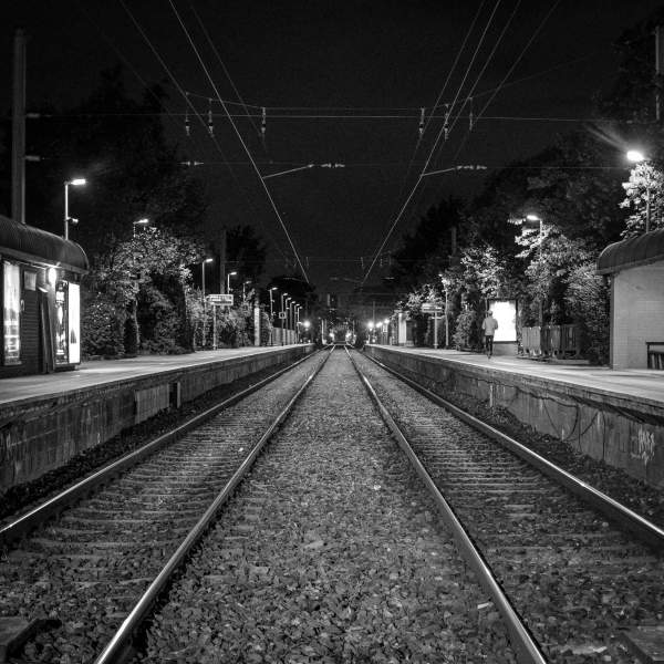 Rail Tracks Night Time Dublin