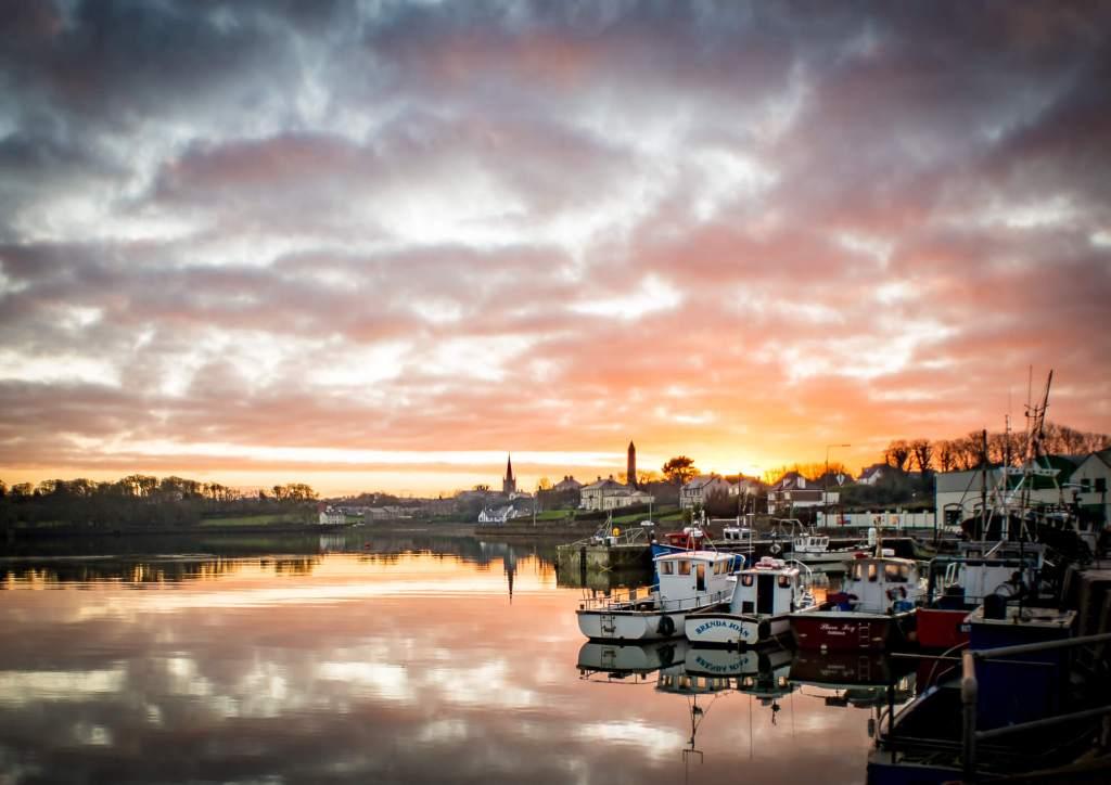 Killala Sunset Fishing Boats Mayo