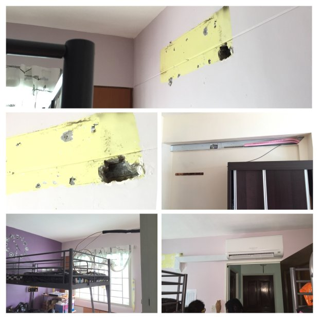 Kids room extended trunking to a new position