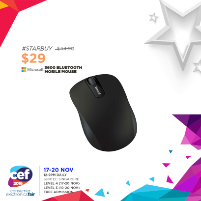 Microsoft 3600 Bluetooth Mobile Mouse | Consumer Electronics Fair 2016 | 17-20 Nov 2016 | 12-9pm | Suntec Singapore