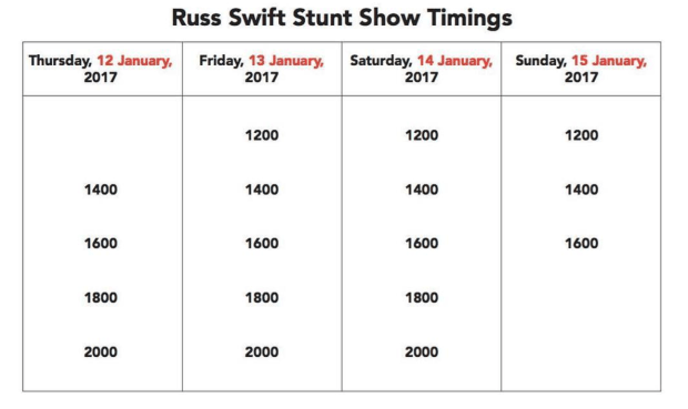 Russ Swift Stunt Show Timings | Singapore Motor Show 2017