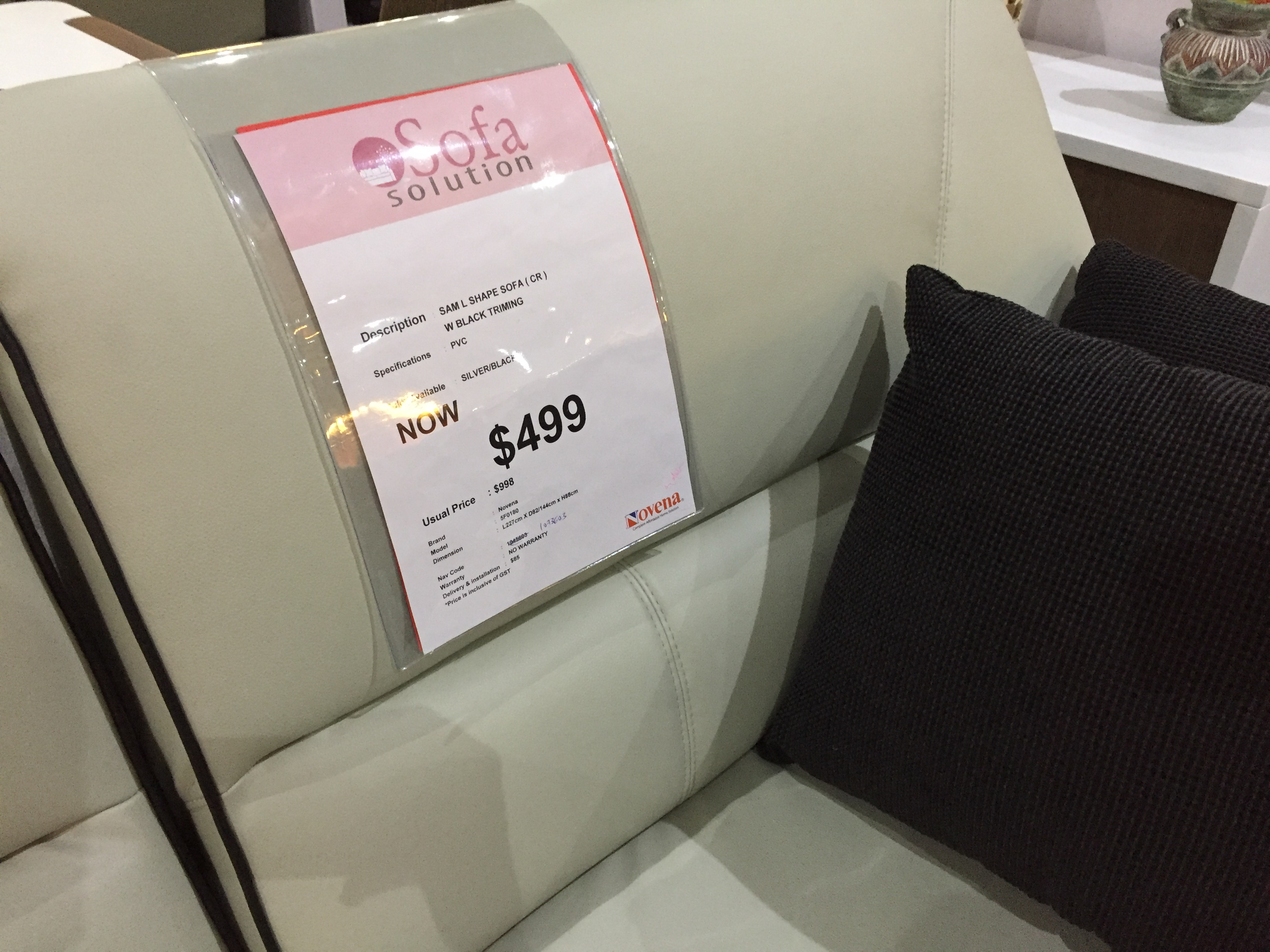 This sofa's price and look seem a right fit.