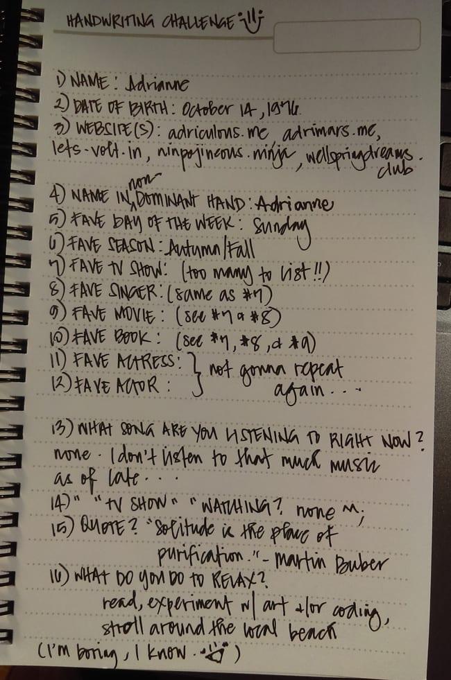 Adri's Handwriting Challenge