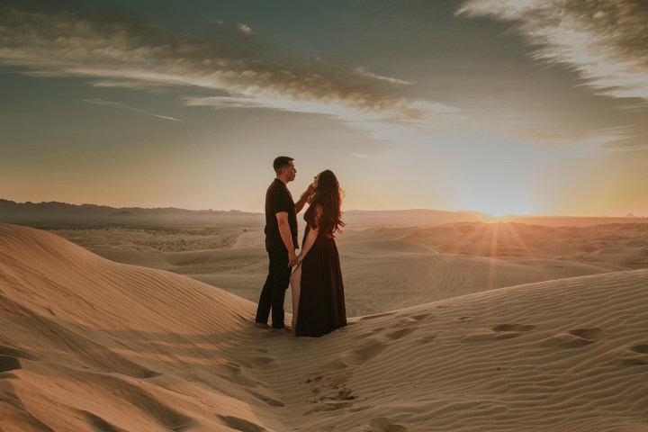 couple at sunset at imperial sanddunes