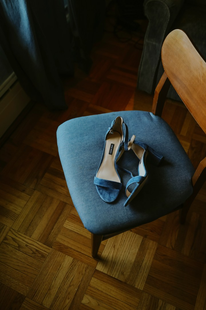 BLUE SHOES ON BLUE CHAIR