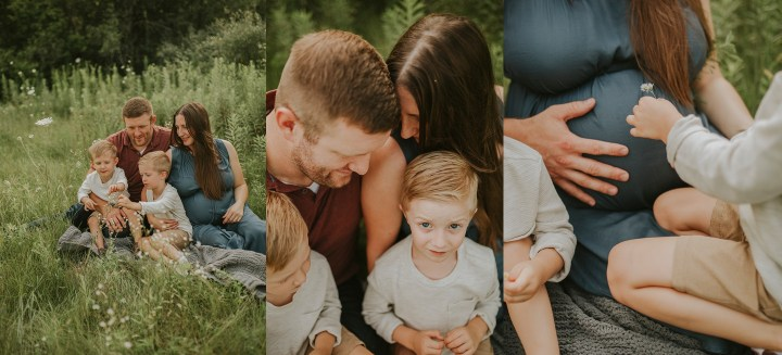 a collage of images of family sitting in grass