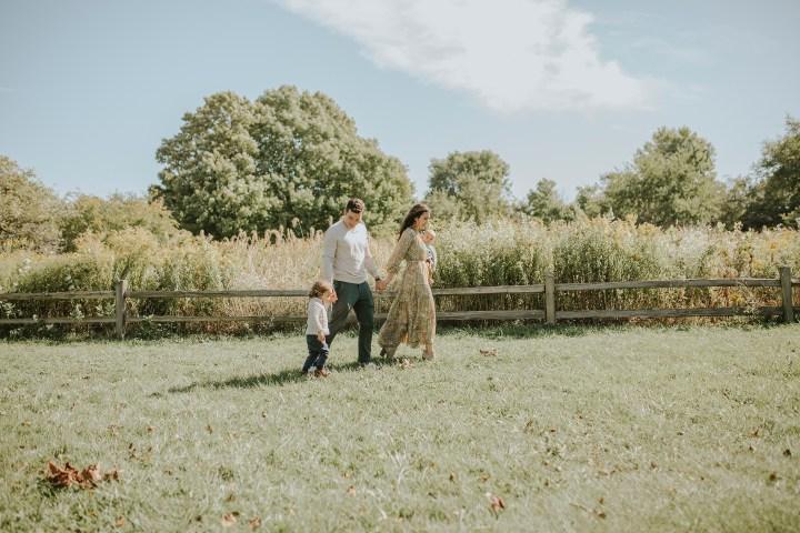 family through field