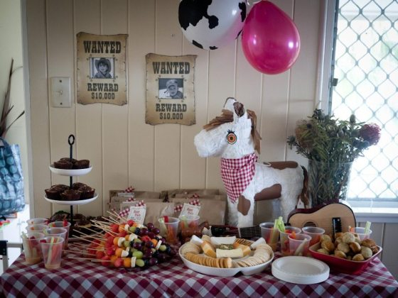 cowboy birthday party food table