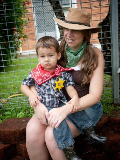 cowboy mama and son at birthday party