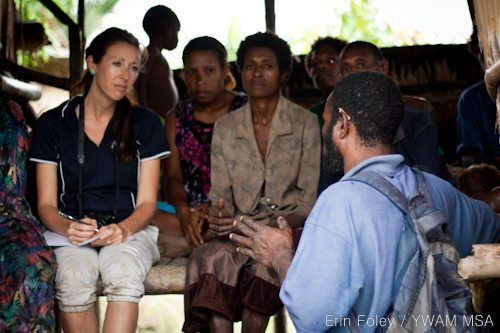 Adriel interviewing Josephine in Bamio, Western Province, Papua New Guinea.
