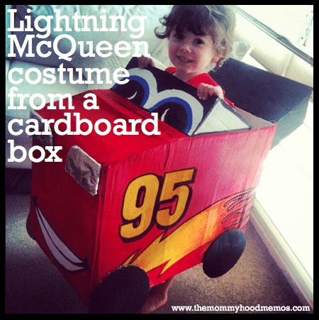 CARS - Lightning McQueen costume from a cardboard box.