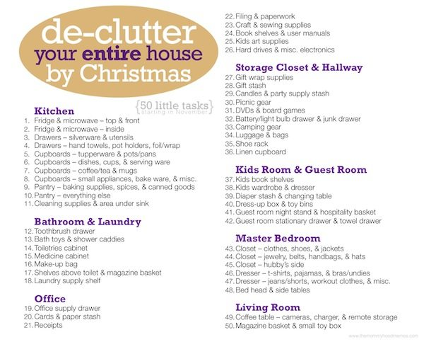 de-clutter your entire house by christmas free printable