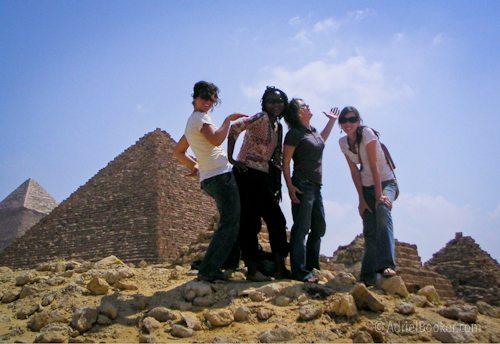 girls at pyramid cairo egypt 2006
