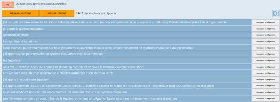 Capture d'écrans de Socrative version élève lors d'un questionnaire ainsi que la synthèse d'une question pour le professeur.