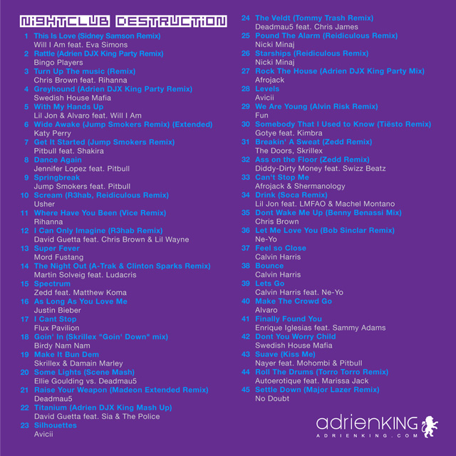 NightClub Destruction Songlist