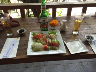 Sashimi and beer