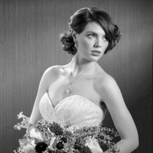 Bride in black and white picture.