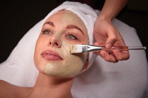 Facial mask application.