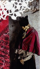 doily, magazine image, joss paper