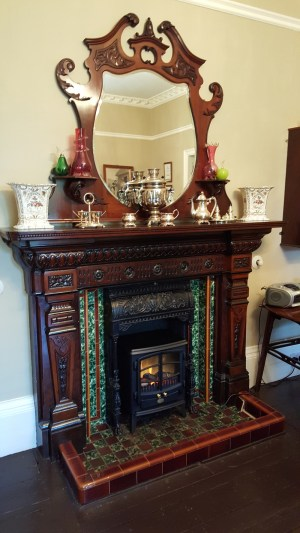 Fireplace in the dining room