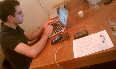 Aaron Coding up some last minute oompf!