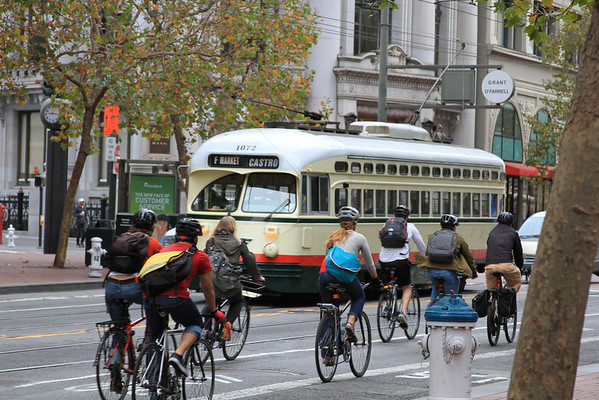 Market Street Cyclists & Streetcar at Commuting Time