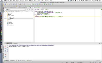 Webstorm, Node.js App Running, w/ OS-X Bar (Click for full size image)